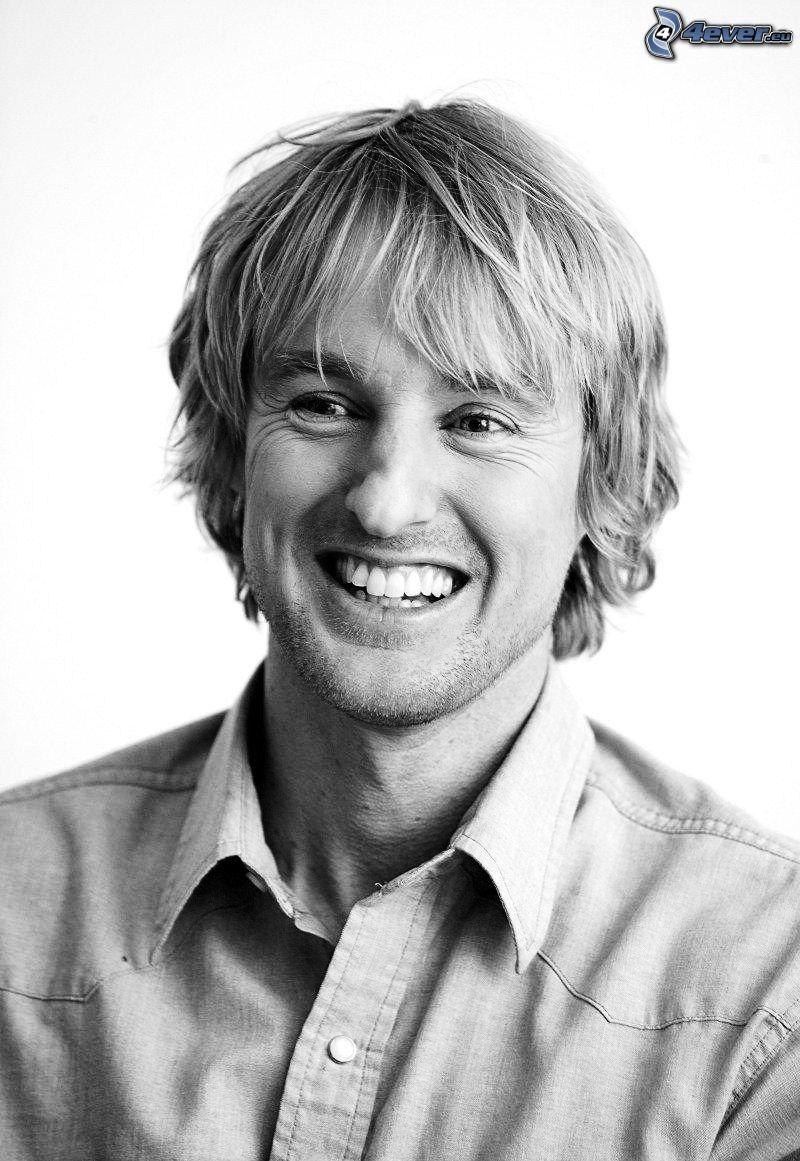 Owen Wilson, skratt, svartvitt foto