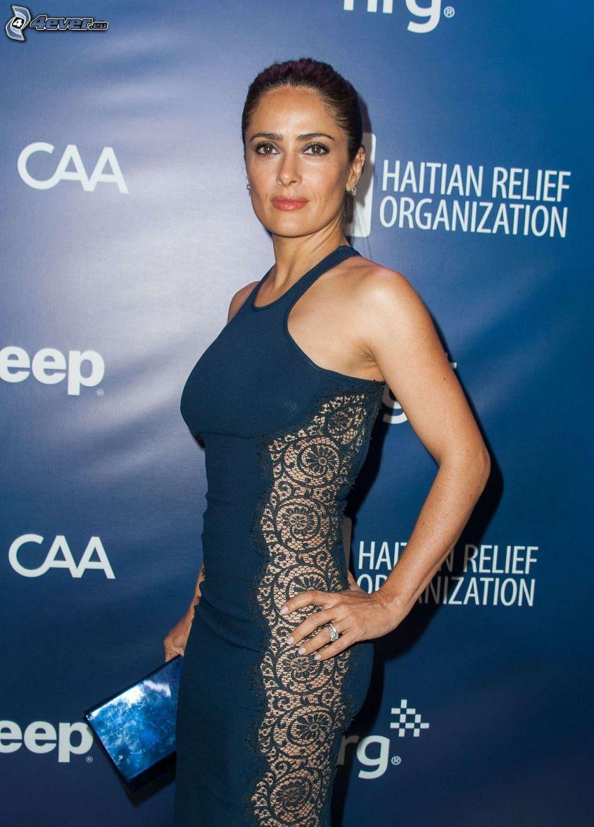 Salma Hayek, blå klänning