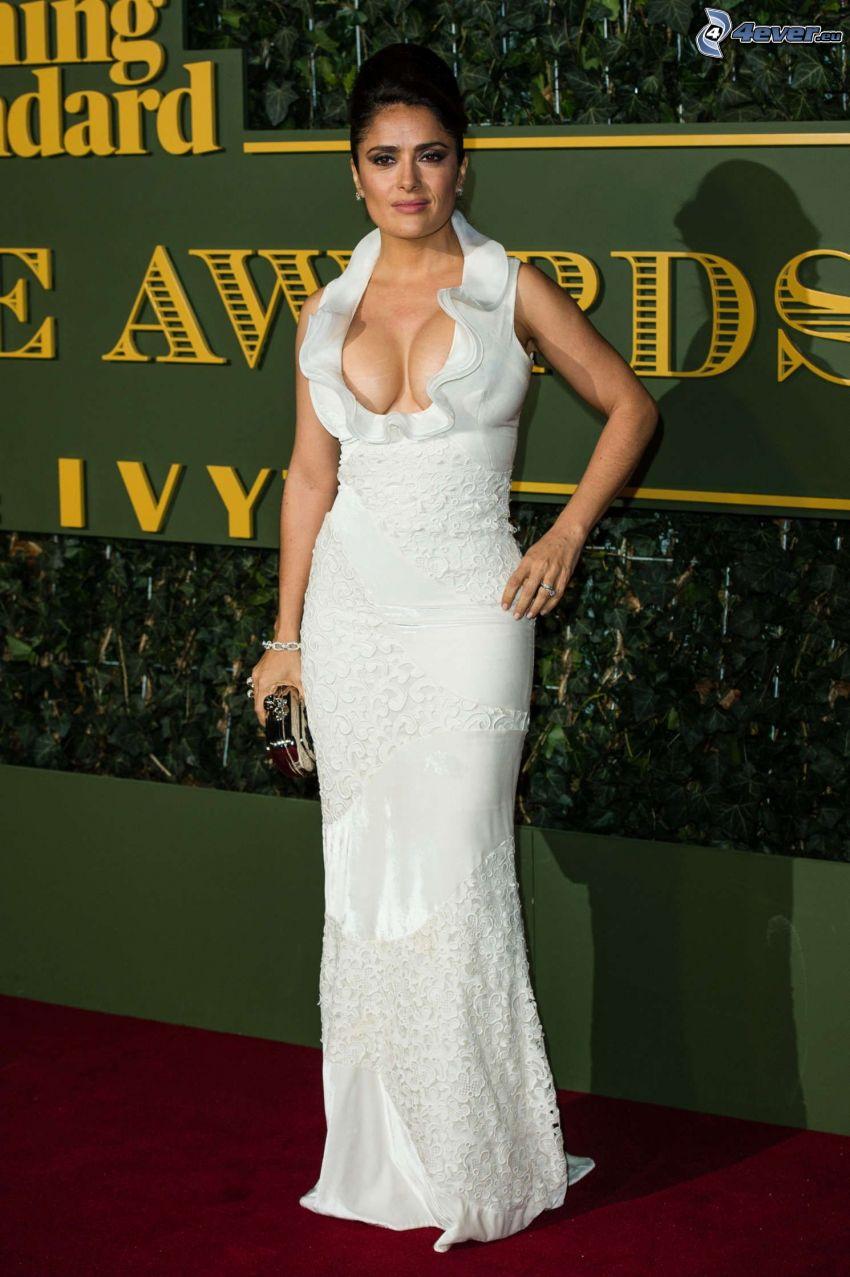 Salma Hayek, vit klänning