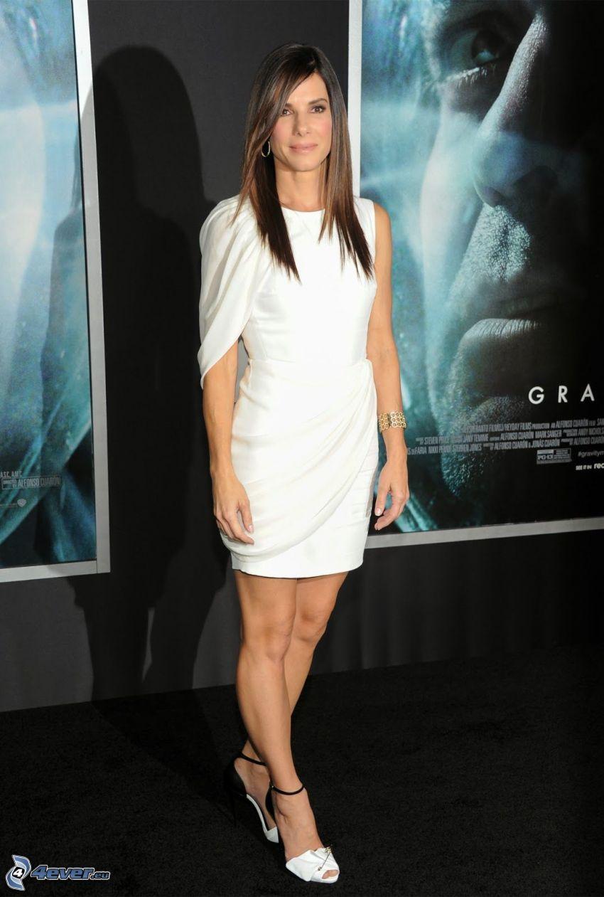 Sandra Bullock, vit klänning
