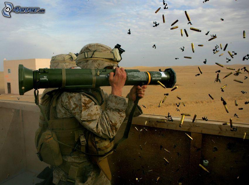 soldat, bazooka, vapen, skytte, ammunition