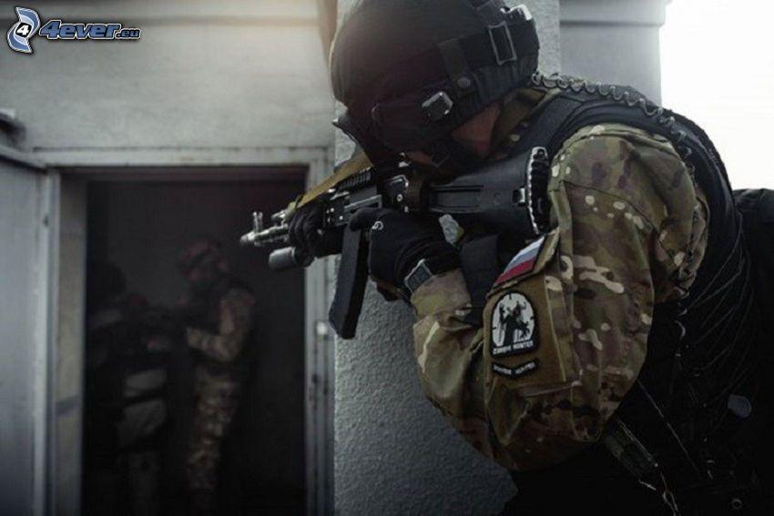 soldat, maskingevär