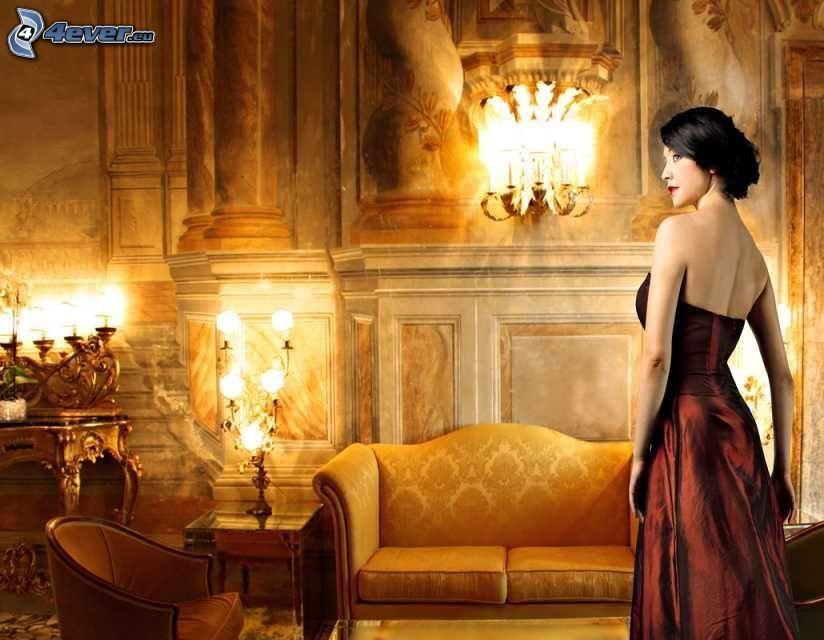 svarthårig kvinna, brun klänning