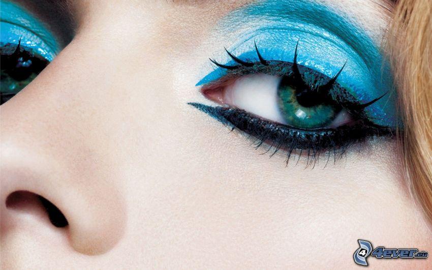 turkost öga, blå ögon, kvinnoansikte