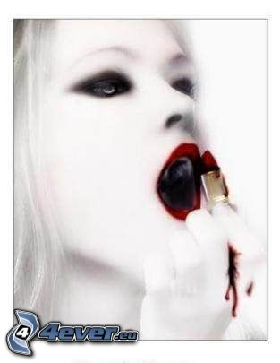 vampyr, läppstift, röda läppar