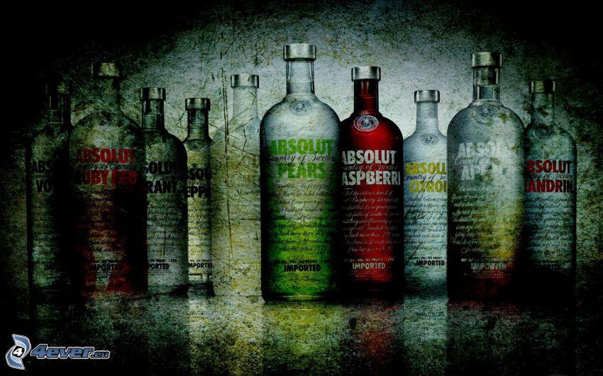 Absolut Vodka, alkohol, flaskor