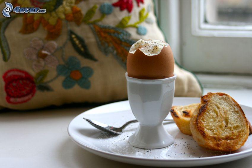 ägg, bakat, frukost