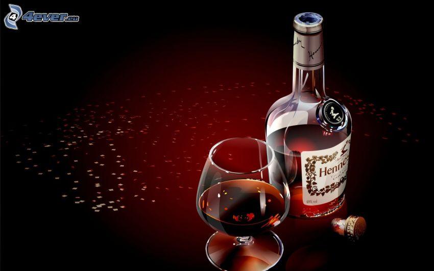 alkohol, flaska, glas