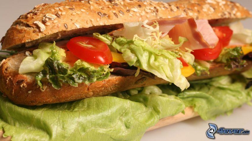 baguette, grönsaker