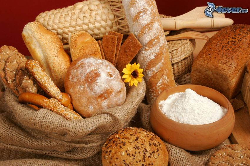 bakat, bröd, baguette, mjöl