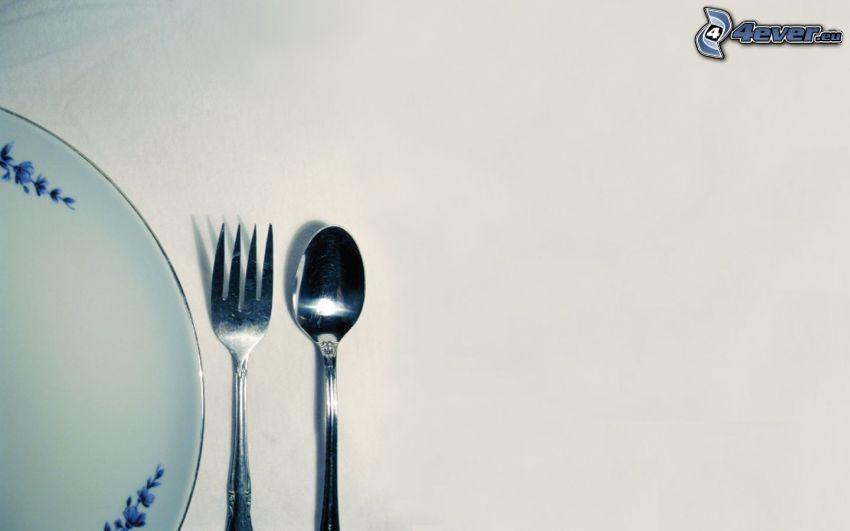 bestick, gaffel, sked, tallrik