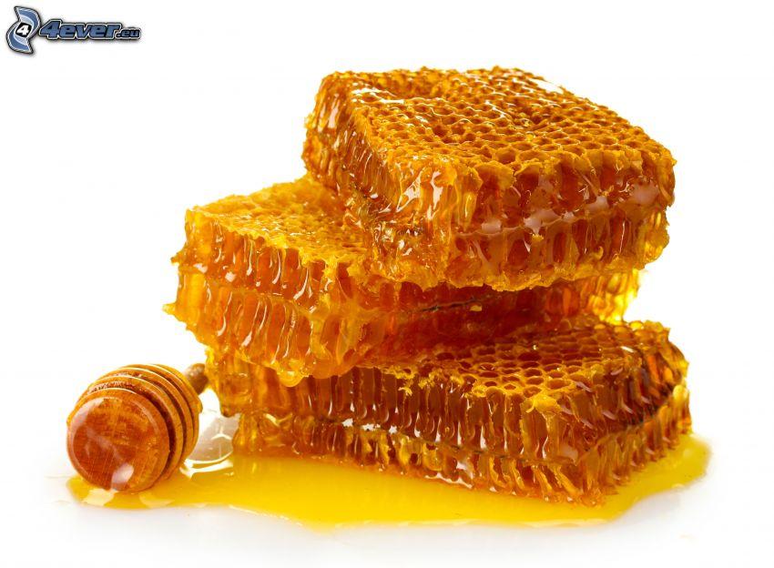 bivax, honung, honungssked i trä