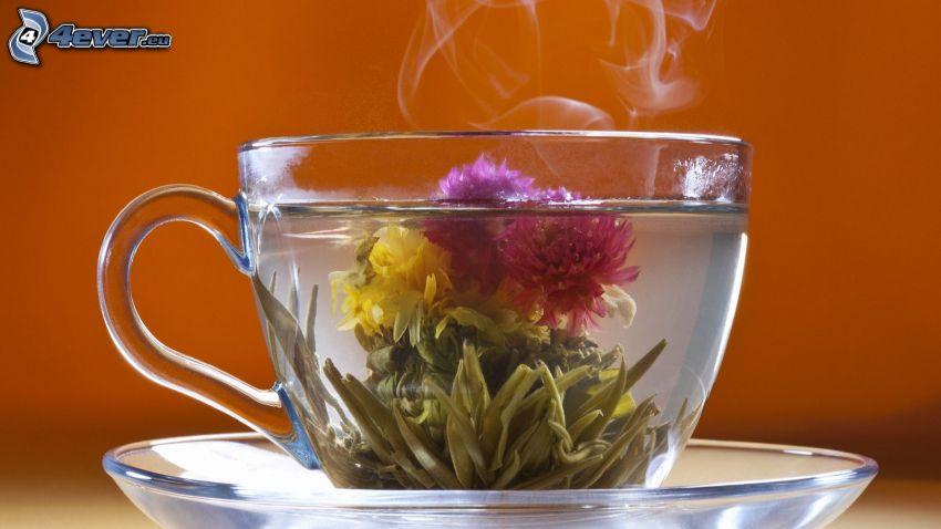blommande te, tekopp