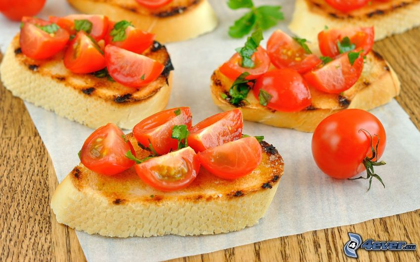 bröd, körsbärstomater