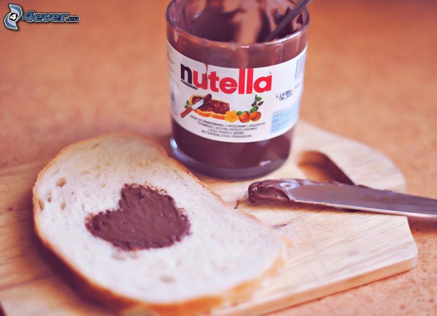 bröd, nutella, hjärta