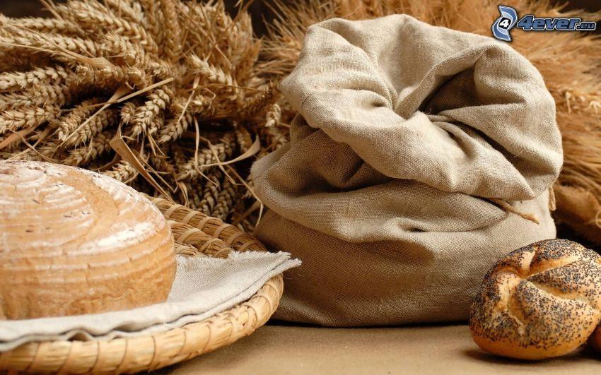 bröd, vete, säck