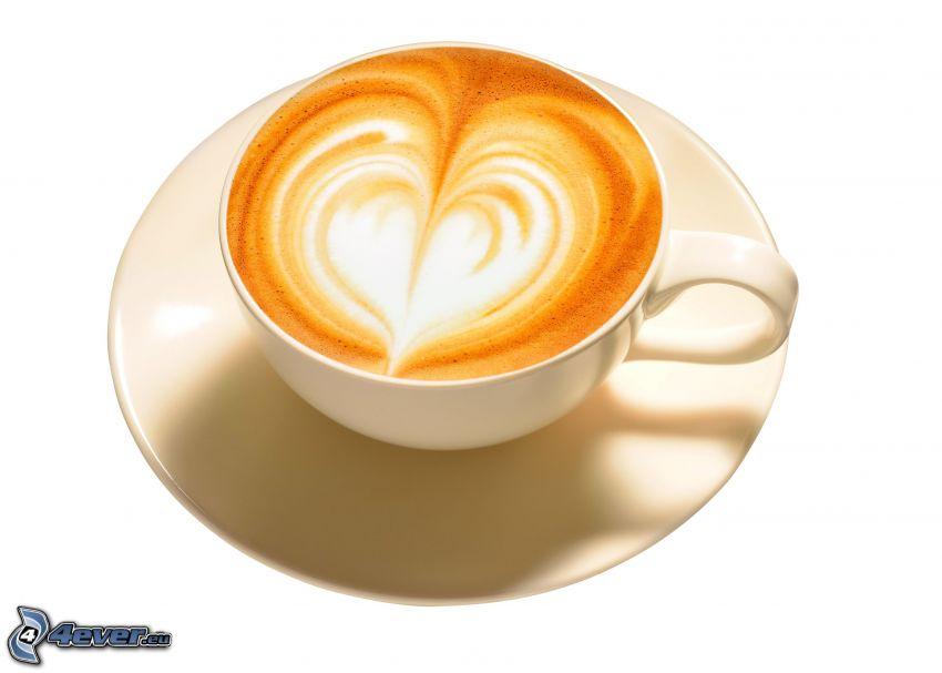 cappuccino, skum, hjärta