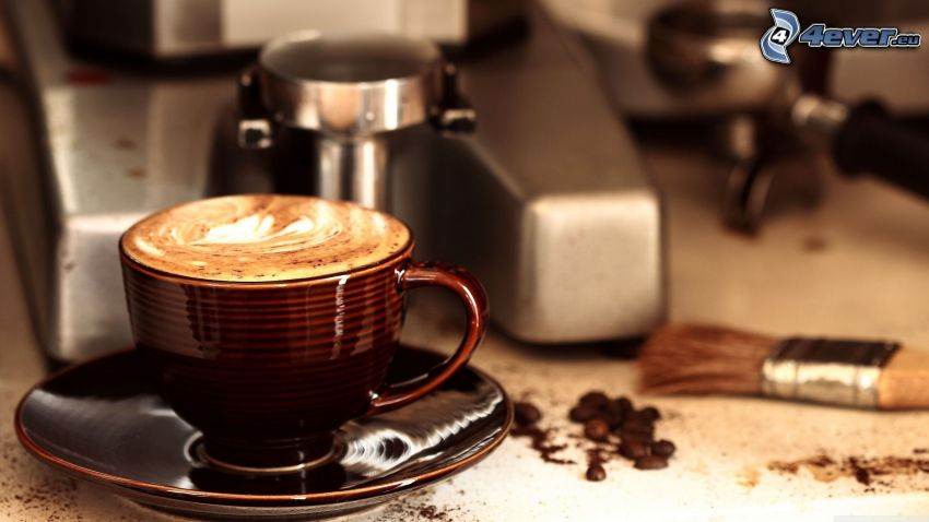 cappuccino, skum, pensel