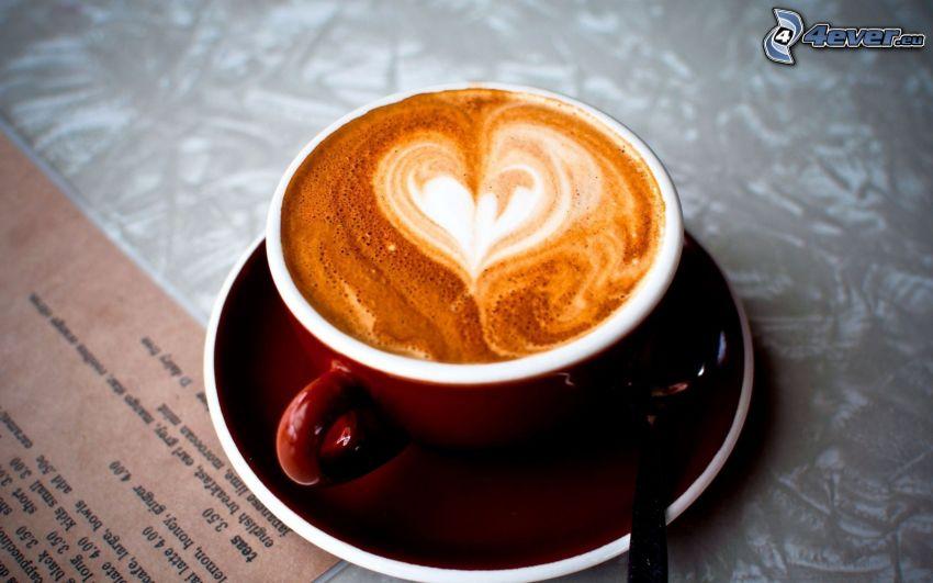 cappuccino, skum, sked, hjärta