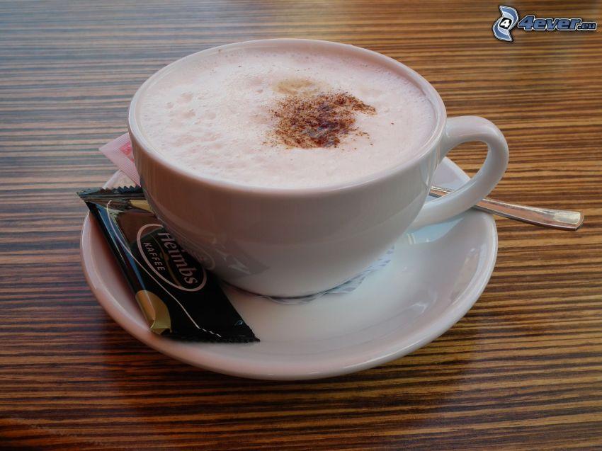 cappuccino, skum, sked, kex