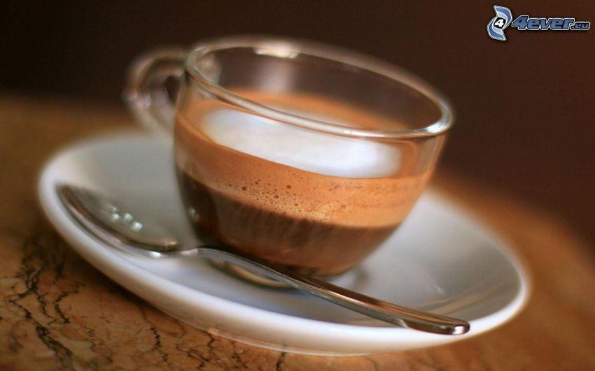 cappuccino, skum, sked