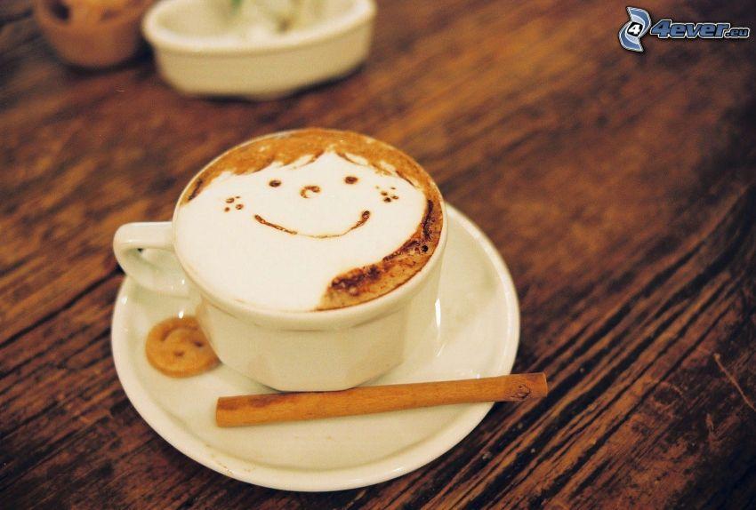 cappuccino, skum, smiley, kanel