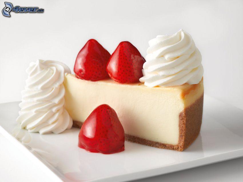 cheesecake, jordgubbar, grädde