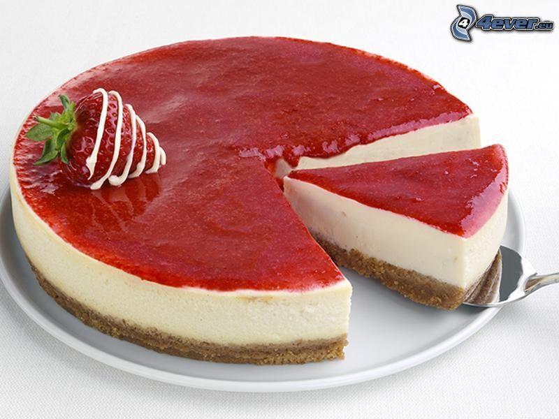 cheesecake, jordgubbe