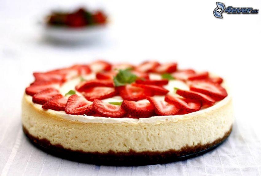 cheesecake, tårta med jordgubbar