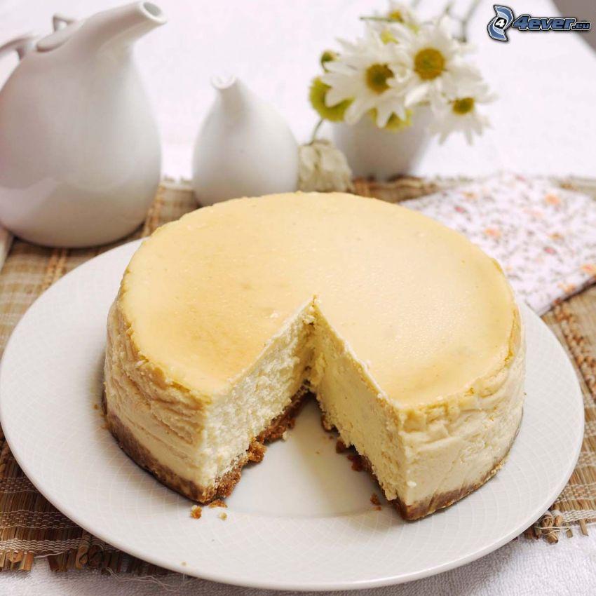 cheesecake, vattenkanna
