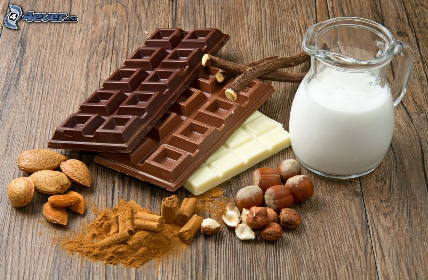 choklad, mjölk, hasselnötter, kanel, mandlar