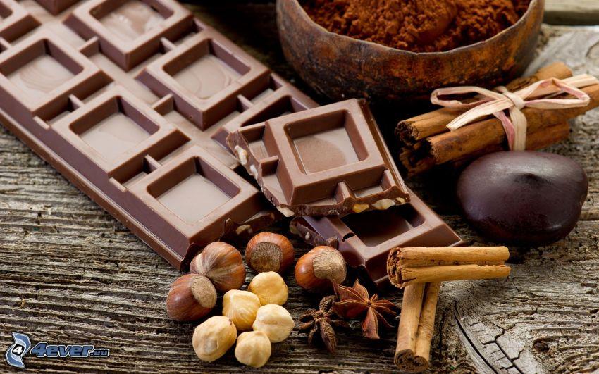 choklad, nötter, kanel