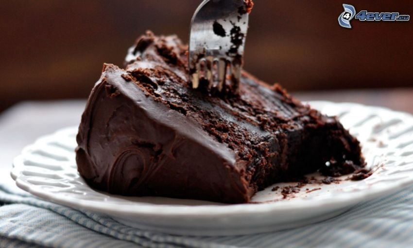 chokladtårta, tårtbit