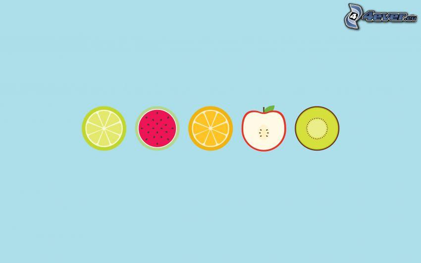 citrusar, äpple, kiwi