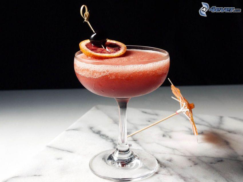 cocktail, citron, paraply