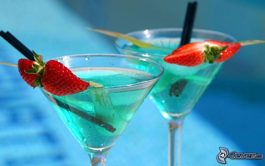 cocktail, jordgubbar