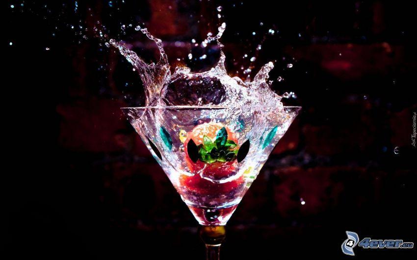 cocktail, jordgubbe, plask