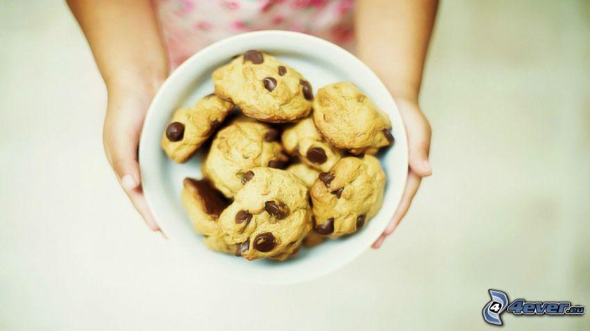 cookies, skål, händer