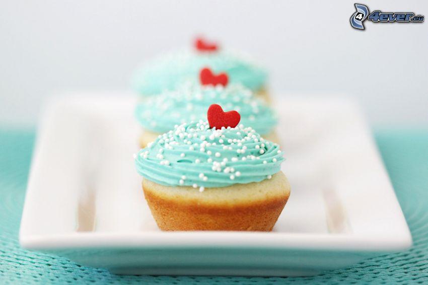 cupcakes, hjärtan