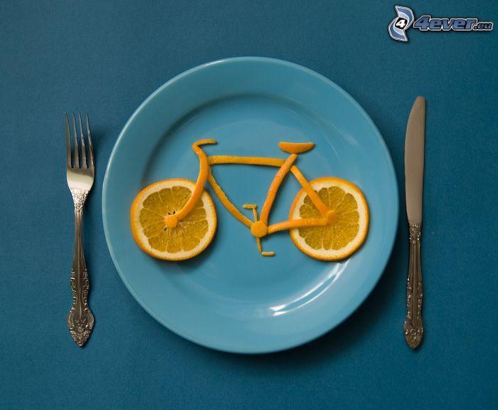 cykel, apelsin, tallrik, gaffel, kniv