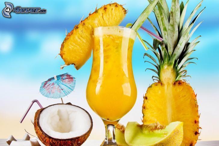 drink, ananas, kokosnöt, gul melon