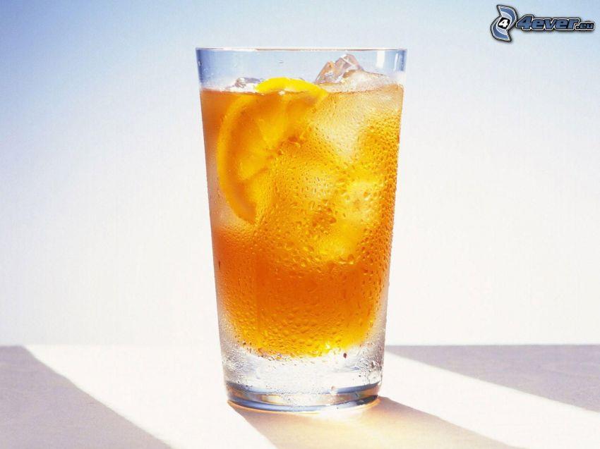 drink, kylt vatten, skivade apelsiner