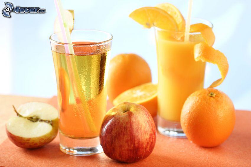 drinkar, färsk juice, äpple, apelsin