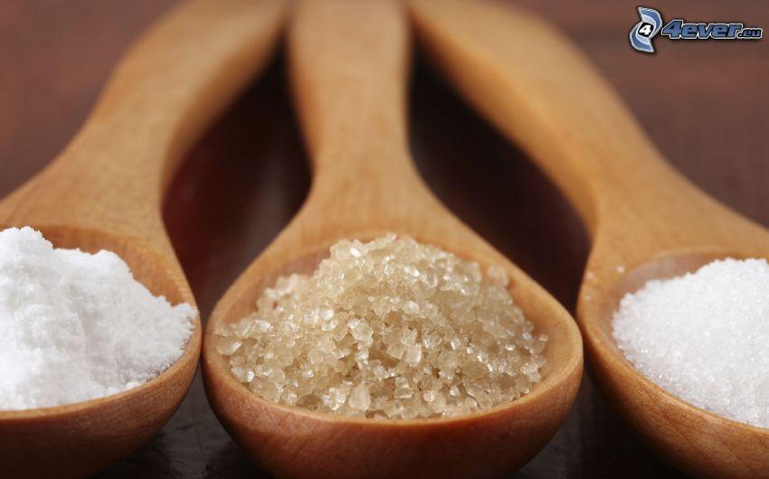 farinsocker, socker, skedar