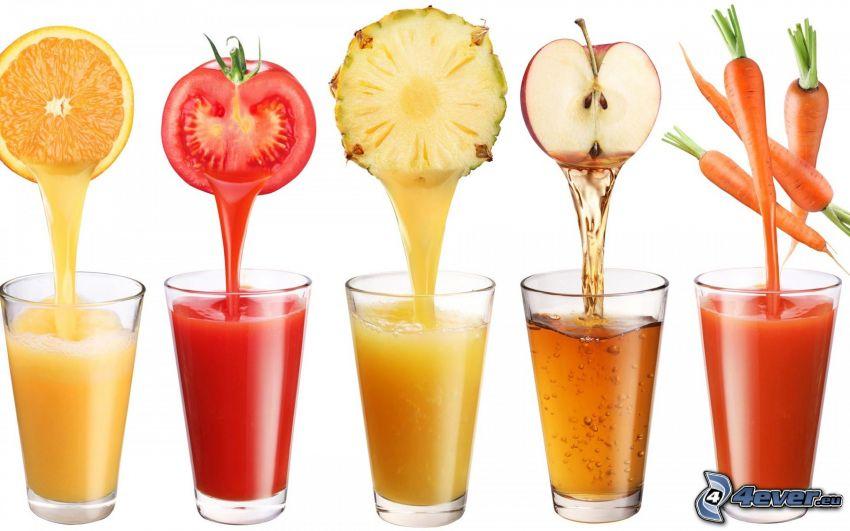 färsk juice, apelsin, tomat, ananas, äpple, morötter, glas