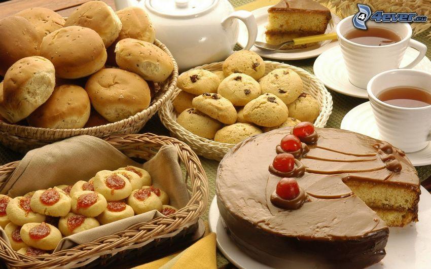 frukost, bakat, kakor, tårta, te
