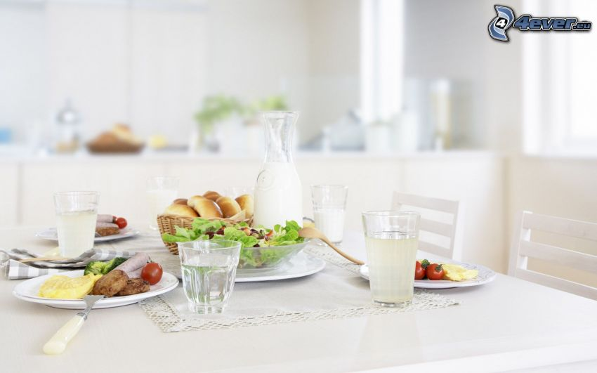 frukost, bord