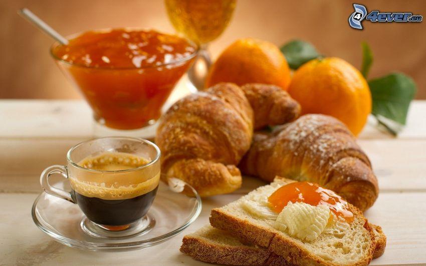 frukost, croissant, kaffe