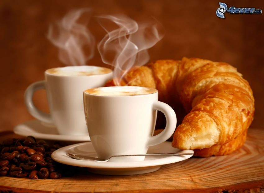 frukost, kaffekopp, croissant