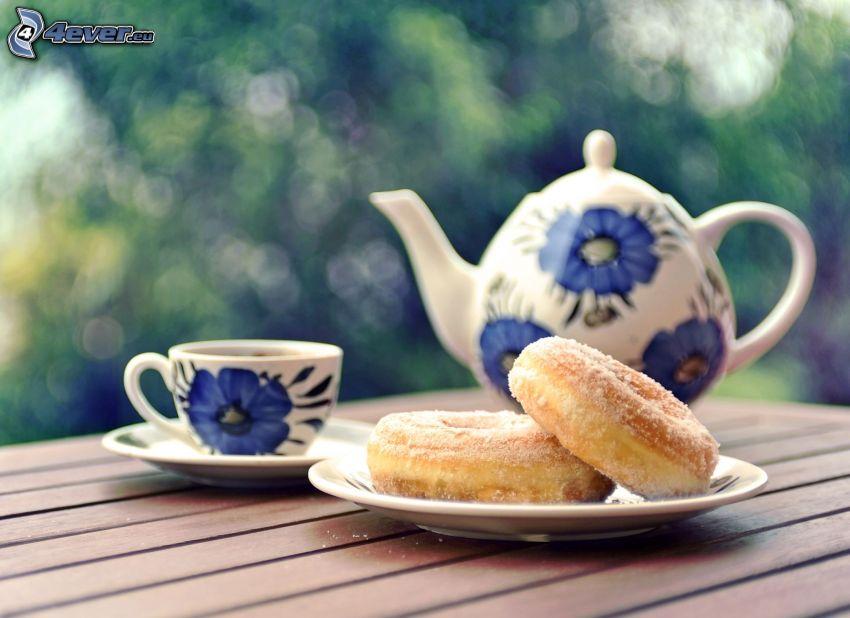 frukost, munkar, tekanna